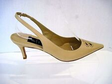 Di Sandro Italy Designer Beige leather slingbacks  front stitching size 37,NEW