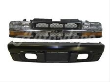 FOR 98-04 S10 4WD FRONT BUMPER BLACK FACE BAR VALANCE GRILLE PARK HEADLIGHT 7PC