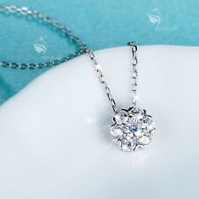 925 silver pendant simulated diamond flower chain necklace 40cm
