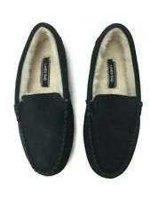 Lands End Women's Slippers Blue Suede Moccasin Size 6 Faux Fur Lined Rubber Sole
