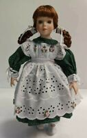 """15"""" Doll Red Braided Hair Pigtails Green Eyes Detailed Face Original Clothes"""