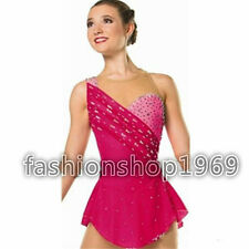 Pink Ice Figure Skating Dress Baton Twirling Custom Dance Tap Competition xx178