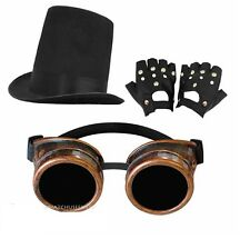 VICTORIAN FANCY DRESS 3 PIECE STEAMPUNK STOVEPIPE HAT, BRONZE GOGGLES + GLOVES
