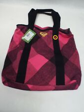 """New ROXY """" Cheer Up """" Pink Black Tote Duffel Large Purse Beach Hand Bag $32"""