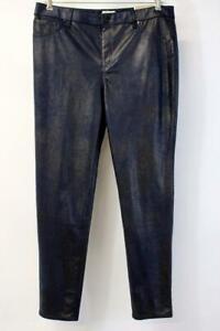 NWT CHICOS 2 Dark Blue ULTIMATE FIT FAUX SUEDE Slim Pants Metallic Modern LARGE