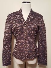 Samuel Dong Animal Print Jacket Fitted Shirred Sides Cotton Sz M