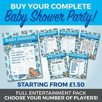 Baby Shower 6 Game Complete Party Set - Boys - A6 Game Cards - TOON Theme Design