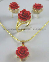 12MM Red Coral Hand Carved Flower Earrings Ring Necklace Pendant Jewelry Set Hot