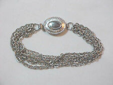 SILVER Shinny multi Chain Chains  Bracelet Fashion oval Clasp  Retro Marked Avon