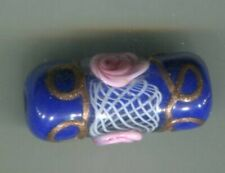 Vintage Venetian old trade glass bead blue lampwork latticino wedding cake rare