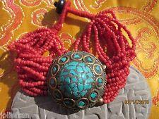 Pote Bracelet Turquoise Medallion Nepal Tribal Nepali Coral Glass Bead Trad.