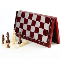 "Chess Set Wooden Lightweight Folding Board Magnetic Lock 11.2"" for Adults & Kids"