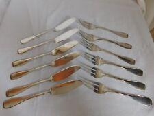 Six fourchettes et six cuillères à poisson  métal argenté orfèvrerie  POP