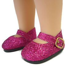 Dark Pink Glitter Shoes for American Girl Wellie Wishers Doll Clothes Wisher