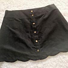 Xhilaration Skirt XXL Black Vegan Faux Suede Button Down Scalloped Mini Juniors