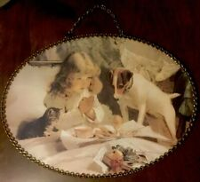 Flue Cover Vintage Replica Gallery Graphics Little Girl iwith Dog & Kitty