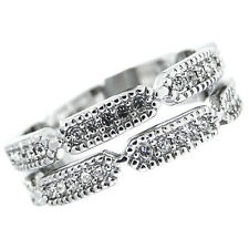 Ladies Double Set With All Around Crystal Stones White Gold Plated Ring Size 7