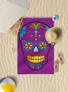 "58""x39"" Purple Candy Skull Design Microfibre Beach TOWEL Sun Bathing TOWEL"
