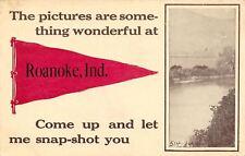 """Let Me Snap-Shot You"" in Roanoke Indiana~Wonderful Pics~1913 Pennant Postcard"