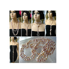 """Real Pearls Necklace Pink-Purple Very Long ret.$670,very long 102"""" (256cm) Mint"""