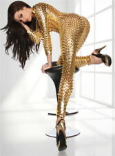 XXXL Women Sexy Gold Bodycon PU Leather Clubwear Dance Jumpsuit Bodysuit Catsuit