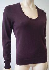 FARHI NICOLE FARHI Plum 100% Wool Round Neck Long Sleeve Jumper Sweater Top M