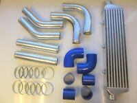 "Universal Front Mount Intercooler Kit FMIC 63mm 2.5"" BLUE HOSES 550x140x65 Core"