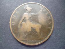 1900 Penny Pièce de Monnaie Reine Victoria (Ancien Tête) Bronze, Foire Used État