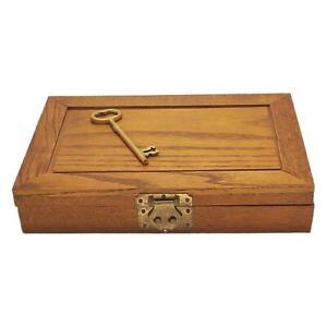 Vintage Oak Wood Key Holder Cabinet Rack Storage Box 18 Hooks  Brass Details
