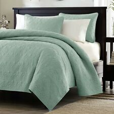 Full/Queen Seafoam Blue Green Quilt Set With Two Shams Other Sizes Colors Avail.