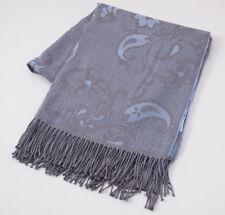 NWT $925 BATTISTI NAPOLI Gray and Blue Paisley Jacquard Wool Throw Blanket + Box