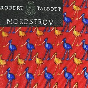 ROBERT TALBOTT 100% Silk Tie Bright Red + Birds Cranes Herons Egrets Nordstrom