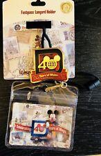 Disney WDW Parks 40 Years of Magic Medallion Fastpass Lanyard Holder - New