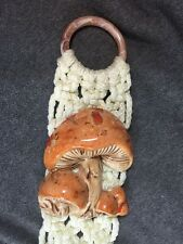 Vintage 1970s Macrame Towel Holder w/ Ceramic Mushrooms Boho Hippie Wall Hanging