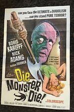 DIE, MONSTER, DIE 1 sheet  movie poster 1965 Boris Karloff