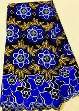African Fabric Swiss Voile lace Big Voile Lace Royal Blue Gold Swiss Lace 5yards