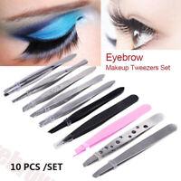 10pcs Tweezers Set Professional Stainless Steel Eyebrow Hair Pluckers Clip 2020