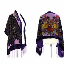 Gorgeous Purple Color Peacock Silk Burnout Velvet  Fringed Scarf Shawl Wrap