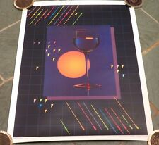 Vtg 1980's WINE GLASS PHOTOGRAPHY GRAPHIC DESIGN Pop Art WINERY BAR POSTER Ad NR