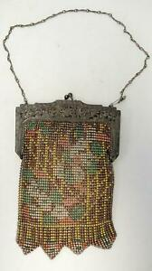 Colorful Vintage Whiting Davis Enamel Mesh Purse Pierced Silver Frame