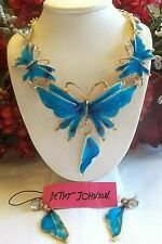 BETSEY JOHNSON BLUE BUTTERFLY WINGS CRYSTAL AND ENAMEL NECKLACE & EARRINGS