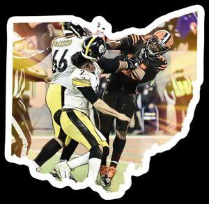 Cleveland Browns STICKER Myles Garrett Fans only Pittsburgh Sucks Helmet Cartoon