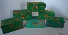 Vintage Chinese Asian Lot of 6 Satin Empty Boxes Green Baoding Balls