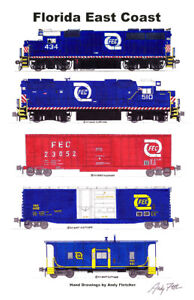 """Florida East Coast Blue-era Freight Train 11""""x17"""" Poster by Andy Fletcher signed"""