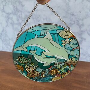 joan baker hand painted stained glass thick glass dolphin suncatcher
