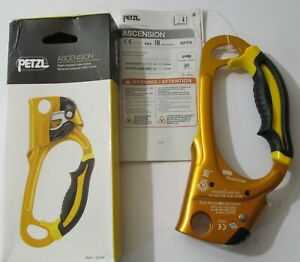 NEW PETZL ASCENSION GOLD ASCENDER/ ROPE CLAMP YELLOW RIGHT-HANDED 8-13MM ROPE