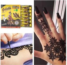 6 PURE BLACK HENNA INDIAN ARABIC HEENA MEHNDI TATTOO CONES QUICK DRY UK FAST
