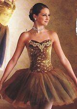 NWT European tutu Ballet Costume Gold Navy Tulle skirt child medium Velvet Wolff