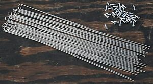 36x 304mm Double Butted 2/1.7SS Bicycle SPOKES & Nipples Vintage Wood Wheel Bike