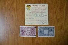 LOTTO 2 BANCONOTE LIRE 5 ATENA ELMATA 10 GIOVE 1944 certificata qFDS SUBALPINA